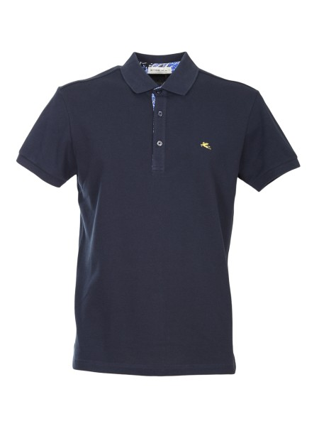 Shop ETRO  Polo Shirt: Etro blue polo shirt in cotton. Contrasting front logo. Shirt inserts in the buttoning. Collar with three buttons. Regular fit. Composition: 100% cotton. Made in Italy.. 1Y800 9154 -0200