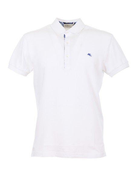 Shop ETRO  Polo Shirt: Etro white polo shirt in cotton. Contrasting front logo. Shirt inserts in the buttoning. Collar with three buttons. Regular fit. Composition: 100% cotton. Made in Italy.. 1Y800 9154 -0990