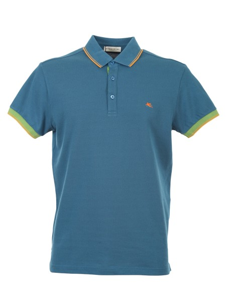 Shop ETRO  Polo Shirt: Etro light blue cotton polo shirt. Contrasting inserts in the sleeves and buttoning. Yellow profiles in the three-button collar. Contrasting front logo. Composition: 100% cotton. Made in Italy.. 1Y800 9156-0204