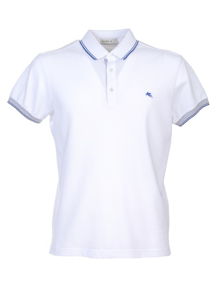 Shop ETRO  Polo Shirt: Etro white polo shirt in cotton. Contrasting inserts in the sleeves and buttoning. White profiles in the collar with three buttons. Contrasting front logo. Composition: 100% cotton. Made in Italy.. 1Y800 9156-0990