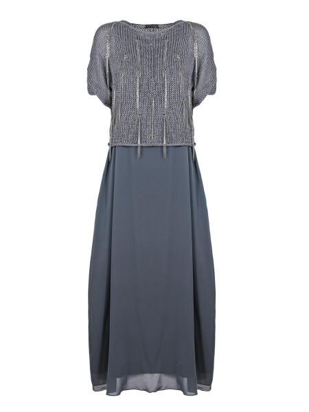 Shop FABIANA FILIPPI  Dress: Fabiana Filippi long dress in linen and cotton, iron gray. Short sleeves. Boat neckline, Side pockets. Enriched by a cotton gauze knit, sprinkled with fringes in the light spot. Button closure. Lined. Dress composition: 96% silk 4% elastane. Made in Italy.. AB90018  J947-VR2