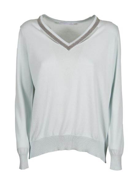 Shop FABIANA FILIPPI  Pullover: Fabiana Filippi cotton sweater. Long sleeves. V-neck. Light spot motif on the neck. Composition: 100% cotton. Made in Italy.. E22918  N268-5095