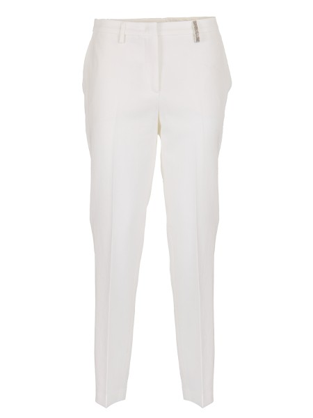 Shop FABIANA FILIPPI  Trousers: Fabiana Filippi cigarette trousers in crepe cotton twill. Regular fit. Passante covered with light point. Oblique front pockets. Welt pockets on the back. Hook and zip closure. Composition: 100% cotton. Made in Italy.. PG74018  X403-064
