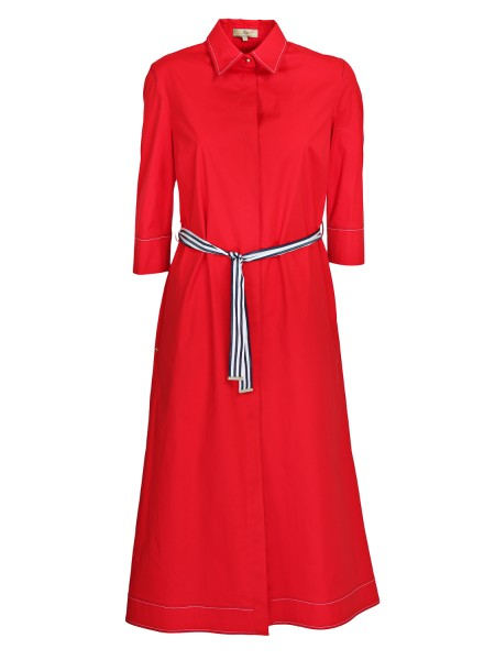 Shop FAY  Dress: Fay dress / long shirt in cotton, red. 3/4 sleeves, with bow. White and blue sash. Shirt collar. Hidden buttoning. Composition: 96% cotton 4% elastane.. N8WE336549S0FK-R003