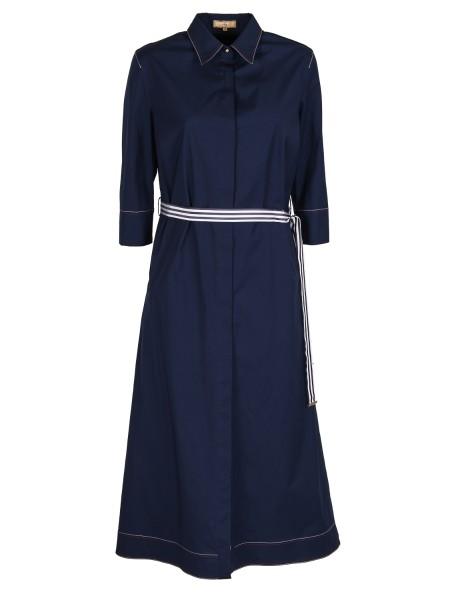 Shop FAY  Dress: Fay dress / long shirt in cotton, blue. 3/4 sleeves, with bow. White and blue sash. Shirt collar. Hidden buttoning. Composition: 96% cotton 4% elastane.. N8WE336549S0FK-U809