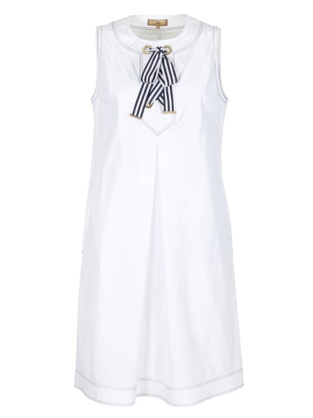 Shop FAY  Dress: Fay sleeveless dress in stretch cotton. Front bow in grosgrain. Metal Fay logo. Side pockets. Composition: 96% cotton 4% elastane. Made in Italy.. N8WE336552S0FK-B001