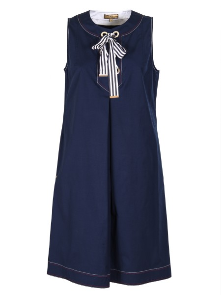 Shop FAY  Dress: Fay sleeveless dress in stretch cotton. Front bow in grosgrain. Metal Fay logo. Side pockets. Composition: 96% cotton 4% elastane. Made in Italy.. N8WE336552S0FK-U809