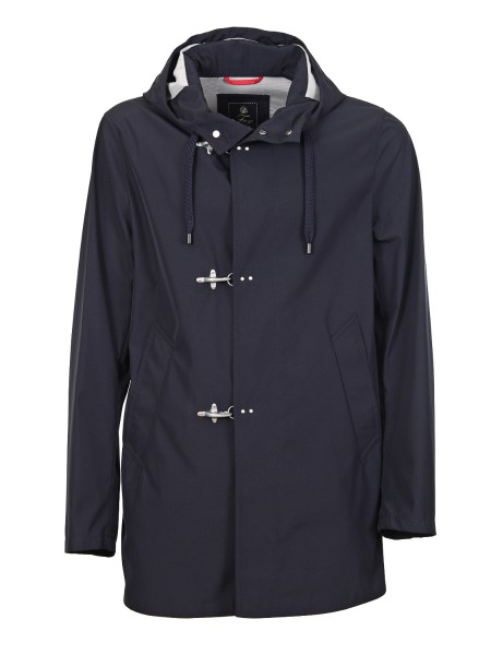 Shop FAY  Coat: Fay parka in blue technical fabric. Closure with iconic Fay hooks. Fixed hood, with drawstring. Diagonal pockets. Composition: 100% polyester. Made in Italy.. NAM15360350PGD-1187