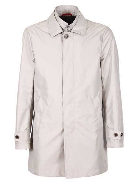 "Shop FAY  Short Coat: Fay raincoat ""Morning"" waterproof in beige nylon. Double closure: zip and hidden buttons. Adjustable cuffs. Diagonal pockets. Composition: 100% polyester. Made in Italy.. NAM61360030AXX-B205"
