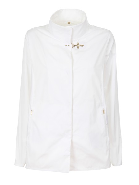 Shop FAY  Short Coat: Fay short rain coat in technical fabric, white. Hidden closure with iconin fay metal hook. Front flush pockets with zip. External composition: 100% polyester. Made in Italy.. NAW12363350IUU-B001