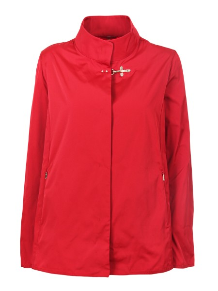 Shop FAY  Short Coat: Fay short rain coat in technical fabric, red. Hidden closure with iconin fay metal hook. Front flush pockets with zip. External composition: 100% polyester. Made in Italy.. NAW12363350IUU-R003