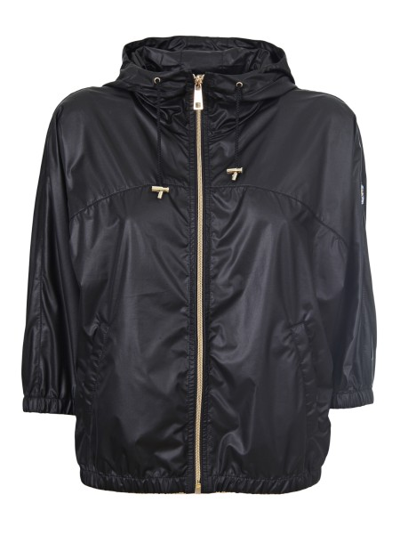 Shop FAY  Short Coat: Fay bomber in nylon, black. Smeared effect. Fit over size. Hood with drawstring, fixed. Zip closure. Diagonal pockets. 3/4 sleeves, with elastic cuffs. Fay logo on the left shoulder. Made in Italy.. NAW12363710LIZ-B999