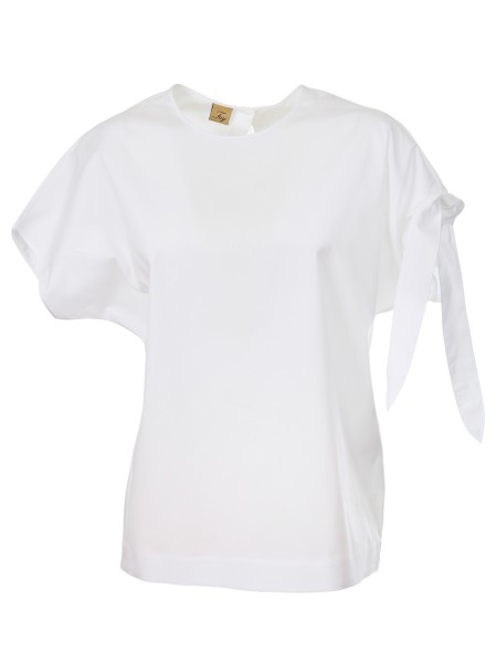 Shop FAY  Top: White Fay top in cotton. Short sleeves. Two buttons on the back side. Bow detail on the left sleeve. 96% cotton 4% elastane.. NCWA236576SNDL-B001