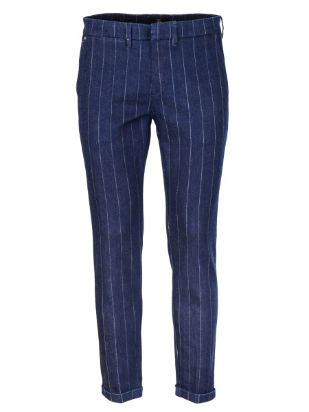 Shop FAY  Jeans: Fay pinstripe trousers in denim canvas. Slim fit. Composition: 98% cotton 2% elastane. Made in Italy.. NTM8636187LPHU-0363