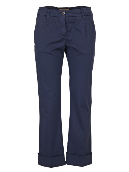 Shop FAY  Trousers: Fay trousers in blue cotton. Flush pockets. Button and zip closure. Bottom with maxi cuffs. Legs slightly flared. Composition: 98% cotton 2% elastane. Made in Italy.. NTW8136476TGUP-U810
