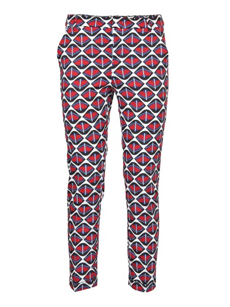 Shop FAY  Trousers: Fay trousers in red and blue cotton. Cigarette cutting. Slim fit. Flush pockets. Medium height waist. Composition: 97% cotton 3% elastane. Made in Italy.. NTW8636430EPMN-079U