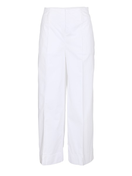 Shop FAY  Trousers: Fay white cotton trousers. Palace model, high waist. Belt loops. Pockets on the lateral and back side. Zip closing. 98% cotton 2% elastane. Made in Italy.. NTW8636478TGUP-B001