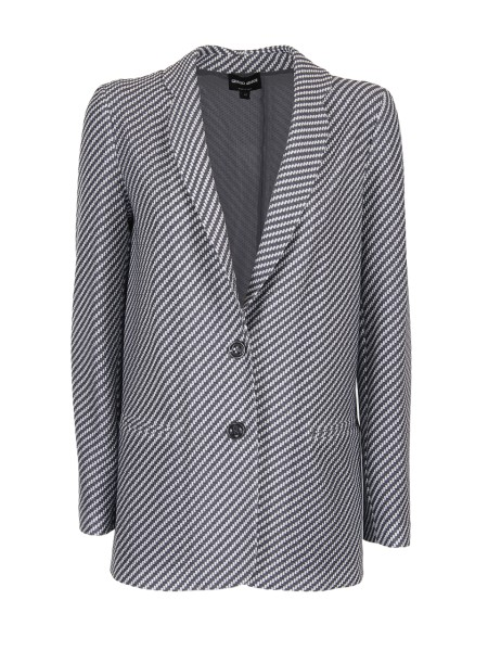 Shop GIORGIO ARMANI  Jacket: Giorgio Armani jacket in the classic diagonal striped pattern. Two-button front closure. Padded straps. Central rear slit. Thread pockets. Fully Lined. Composition: 85% Polyester, 15% Elastane. Made in Italy.. 3ZAG60 AJGUZ -0042