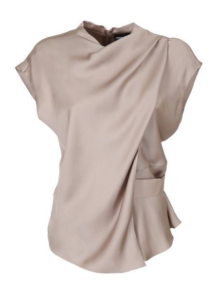 Shop GIORGIO ARMANI  Top: Giorgio Armani top made of fine silk charmeuse. Shoulders come down, Flap of fabric superimposed on the front. Belt on the side that closes on the back. Composition: 100% silk. Made in Italy.. WAC23T WA06C -115
