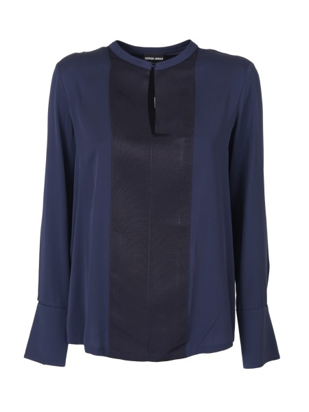 Shop GIORGIO ARMANI  Top: Giorgio Armani night blue silk crepe shirt. Front fabric insert, contrasting. Round neck. Long sleeves with buttons at the cuffs. Composition: 94% silk 6% elastane. Made in Italy.. WAC51T WA526-921