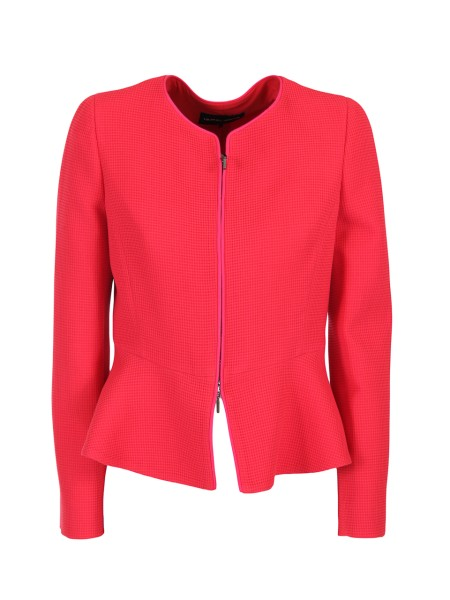 Shop GIORGIO ARMANI  Jacket: Giorgio Armani red jacket. Front closure with zip. U-neck. Wavy at the bottom. Made in Italy.. WAG69T WA525-333