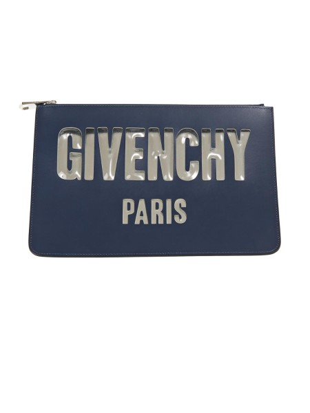 "Shop GIVENCHY  Pochette Donna: Givenchy busta in pelle. Logo "" Givenchy Paris "" su un lato. Chiusura con zip. Composizione: 100% pelle. Made in Italy.. BB6004B02H ICONIC-403"