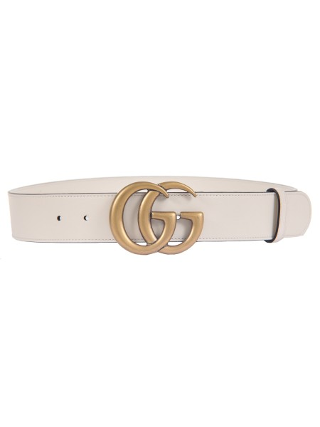 Shop GUCCI  Belt: Gucci white leather belt. GG marmont golden buckle. Size: width: 4cm. Made in Italy.. 400593 AP00T -9022