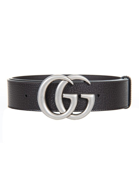 Shop GUCCI  Belt: Gucci belt in dark brown calf leather. Rough and structured effect. Palladium colored finishes. Double G buckle, reinterpretation of the 70s running buckle. Height 4cm. Composition: 100% calfskin. Made in Italy.. 406831 DJ20N-2145