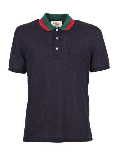 Shop GUCCI  Polo Shirt: Gucci blue stretch polo shirt in cotton piquet with green and red collar. Closure with three buttons, one in mother of pearl with GG logo. Front pocket. Short sleeves. Composition: 93% cotton and 7% lycra. Made in Italy.. 408321 X7331-4060