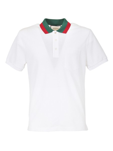 Shop GUCCI  Polo Shirt: Gucci white stretch polo shirt in cotton piquet with green and red collar. Closure with three buttons, one in mother of pearl with GG logo. Front pocket. Short sleeves. Composition: 93% cotton and 7% lycra. Made in Italy.. 408321 X7331-9060
