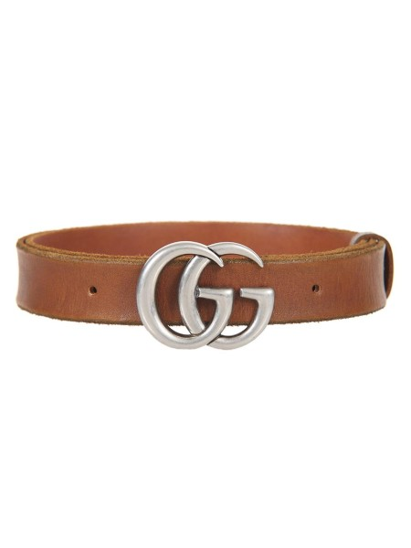 Shop GUCCI  Belt: Gucci thin leather belt with characteristic Double G buckle. Model made of vintage leather. Brass finishes. Double G buckle. Width 3 cm. Made in Italy.. 414516 CVE0N-2535