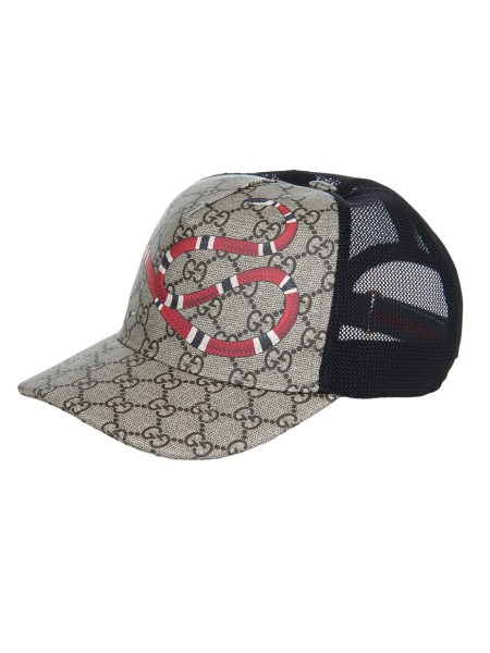 Shop GUCCI  Hat: Gucci baseball hat beige/ebony GG Supreme canvas with Kingsnake print, Mesh back. Adjustable hook-and-loop closure. Made in Italy.. 426887 4HB10-2160