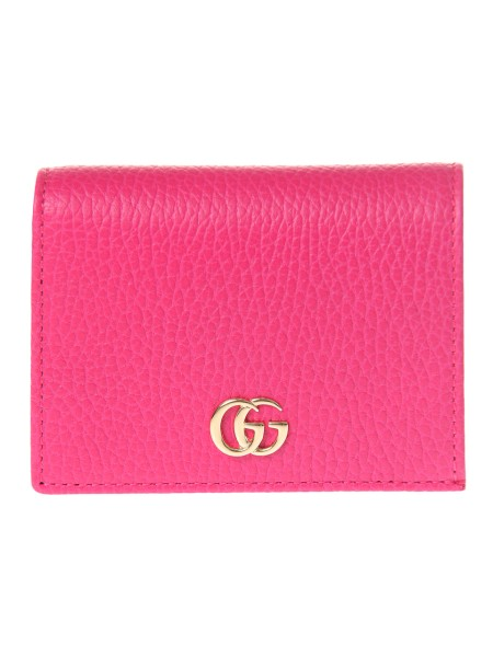 Shop GUCCI  Wallet: Gucci pink leather card holder with golden metal double G detail. Four card slots. Zippered compartment. Auto lock. Made in Italy.. 456126 CAO0G -5752