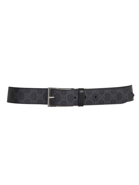 Shop GUCCI  Belt: Gucci black and grey GG Supreme canvas belt. Squared silver-toned buckle. Black leather trim. Silver-toned hardware. 4cm width. Made in Italy.. 474314 K9GSN-8449