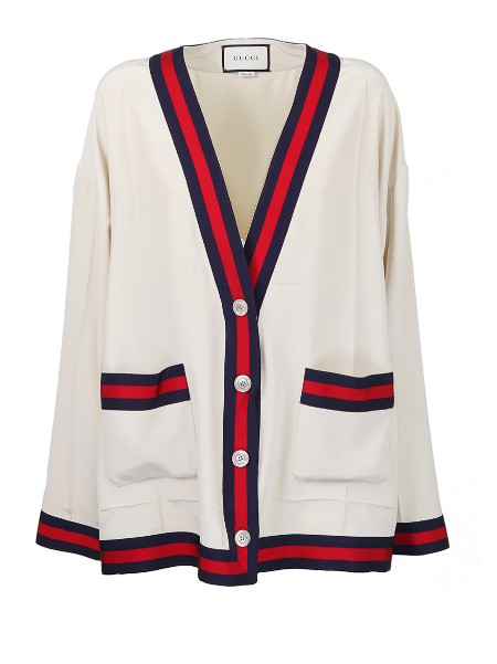 Shop GUCCI  Jacket: Gucci long silk cardigan. Red and blue web detail on the pockets and edges. V-neckline. Button closure. Double front pocket. Long sleeves. Composition: 100% silk. Only dry clean. Made in Italy.. 494421 ZHS03-9401