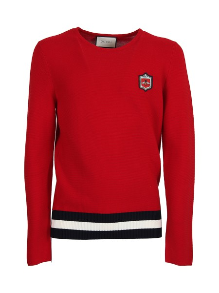 Shop GUCCI  Pullover: Gucci sweater in red cotton. Round neckline. Long sleeves. Logo with bee. Waist band in white and blue contrast. Composition: 100% cotton. Made in Italy.. 496449 X9I02-6130