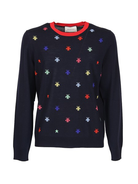 Shop GUCCI  Pullover: Gucci pullover in dark blue knitted wool with bees and stars inlays. Red knitted finishes. Crew neck. 100% wool. Made in Italy.. 496452 X9I04-4944