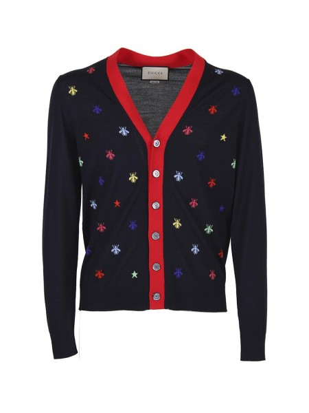 Shop GUCCI  Cardigan: Gucci cardigan in dark blue knit wool, with multicolor inlays of bees and stars. Red knitted finishes. V-neckline 100% wool. Made in Italy.. 496454 X9I04-4944