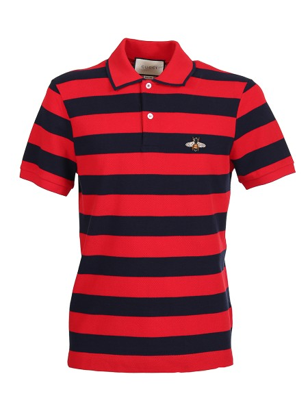 Shop GUCCI  Polo Shirt: Gucci polo in cotton Piquè with red and blue stripes. Short sleeves. Buttons in mother-of-pearl. Embroidered bee application. 100% cotton. Made in Italy.. 496770 X9I30-6140