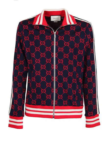 Shop GUCCI  Sweatshirt: Gucci zip-up jacket with the GG jacquard in new colors, red and blue. Red and ivory ribbed trim. Ivory and ink blue Web down the sleeves. Zip pockets. Front zip closure. 100% cotton. Made in Italy.. 496919 X9L13-4330