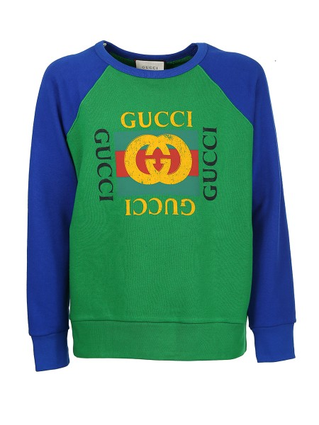 Shop GUCCI  Sweatshirt: Gucci green cotton jersey sweatshirt with blue sleeves. Gucci vintage logo print on the front. Crew neck. Long sleeves. 100% cotton. Made in Italy.. 497255 X3I87-3141