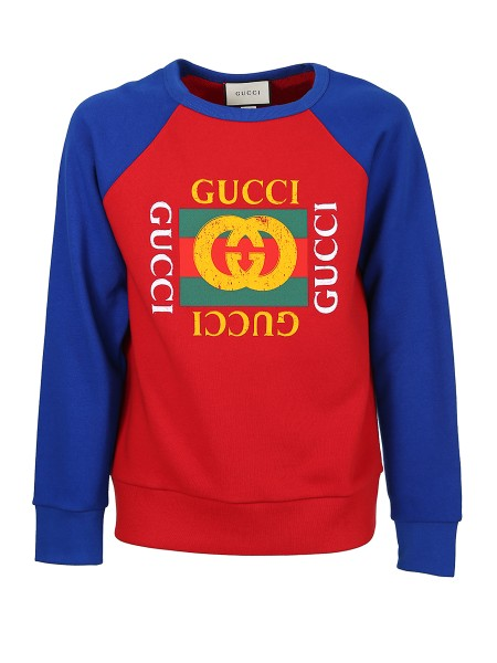 Shop GUCCI  Sweatshirt: Gucci red cotton jersey sweatshirt with blue sleeves. Gucci vintage logo print on the front. Crew neck. Long sleeves. 100% cotton. Made in Italy.. 497255 X3I87-6094