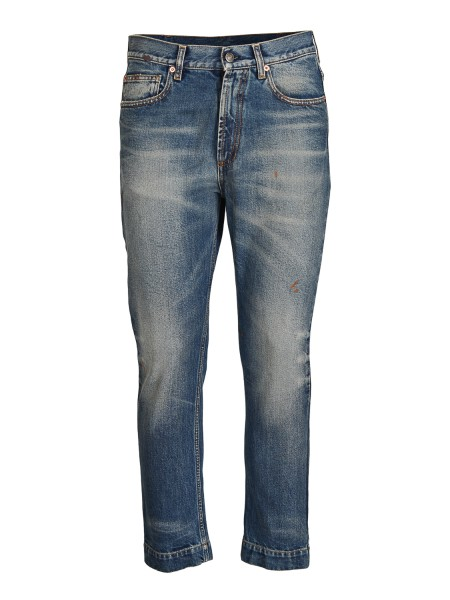 shop GUCCI  Jeans: Gucci denim, five pocket model, stonewashed that creates a vintage effect. Slim fit. Blue stretch denim Back patch in leather with printed size and measure. Composition: 98% cotton and 2% polyurethane. Made in Italy.. 497358 XD690-4011 number 8731337