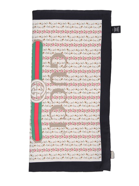 Shop GUCCI  Headscarf: Gucci ivory silk scarf with rose print and Gucci vintage logo. Black border. Edges with hand finishes. Dimensions: Width 90cm x Height 90cm. Composition: 100% silk. Made in Italy.. 499123 3G001-9260