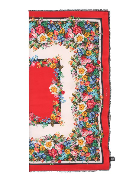 Shop GUCCI  Stola: Gucci foulard. Floral patterns on red and white background. Red outline. 100% silk. Size: 135 x 135. Made in Italy.. 499462 3G001-1088