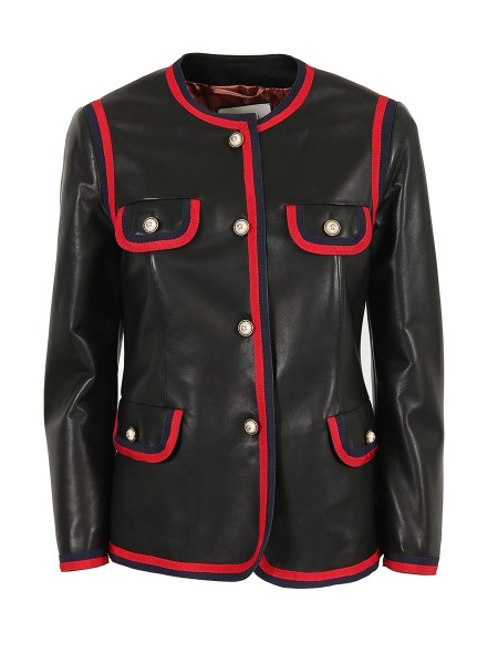 "Shop GUCCI  Jacket: Gucci balck leather jacket. Details and finishes in ""Web"" pattern. Central closing with five pearl bottoms with GG logo. Three bottoms on the wrist. Four pockets with bottom closing. Composition: 100% leather. Finitures composition: 50% cottoe, 50% viscose. Lining composition: 100% cupro. Made in Italy. 502670 XG574-1301"