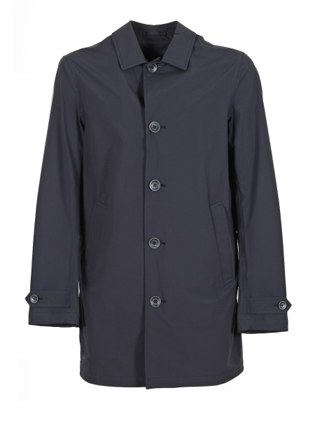 Shop HERNO  Duster: Herno blue raincoat. Closure with zip and buttons. Thread pockets. Split, back, central. Composition: 100% polyamide.. IM0175U 19348-9200