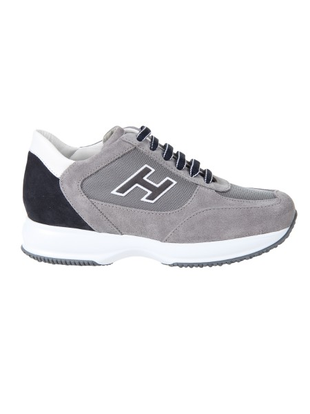Shop HOGAN  Shoes: Hogan Interactive in dove gray color and blue suede, with inserts in gray technical fabric. Upper in suede. Leather details. H side in relief. Removable Fussbett upside 2 cm. Rubber sole. Fabric case included. Made in Italy.. HXM00N0Q102I9L-413K