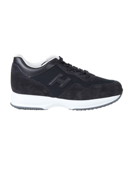 Shop HOGAN  Shoes: Hogan Interactive in suede with inserts in blue technical fabric. Upper in suede. Leather details. H side relief in leather. Removable Fussbett upside 2 cm. Rubber sole. Fabric case included. Made in Italy.. HXM00N0U040I9M-0071