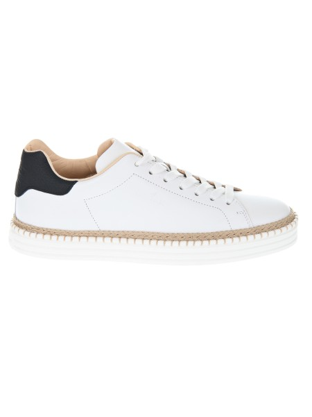 Shop HOGAN  Shoes: Hogan R260 sneakers in white leather. Leather upper. Imprinted Hogan logo. Rope detail. Rubber sole. Fabric case included. Made in Italy.. HXM2600AD50I7H-0001